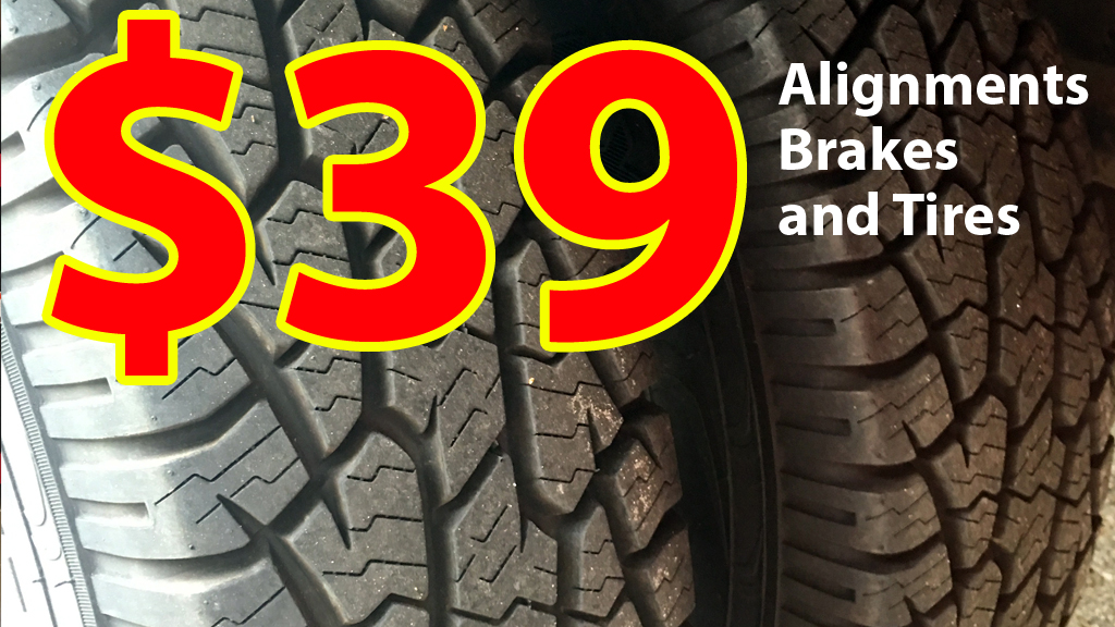 Alignments Brakes Tires or Flat tire Repair service
