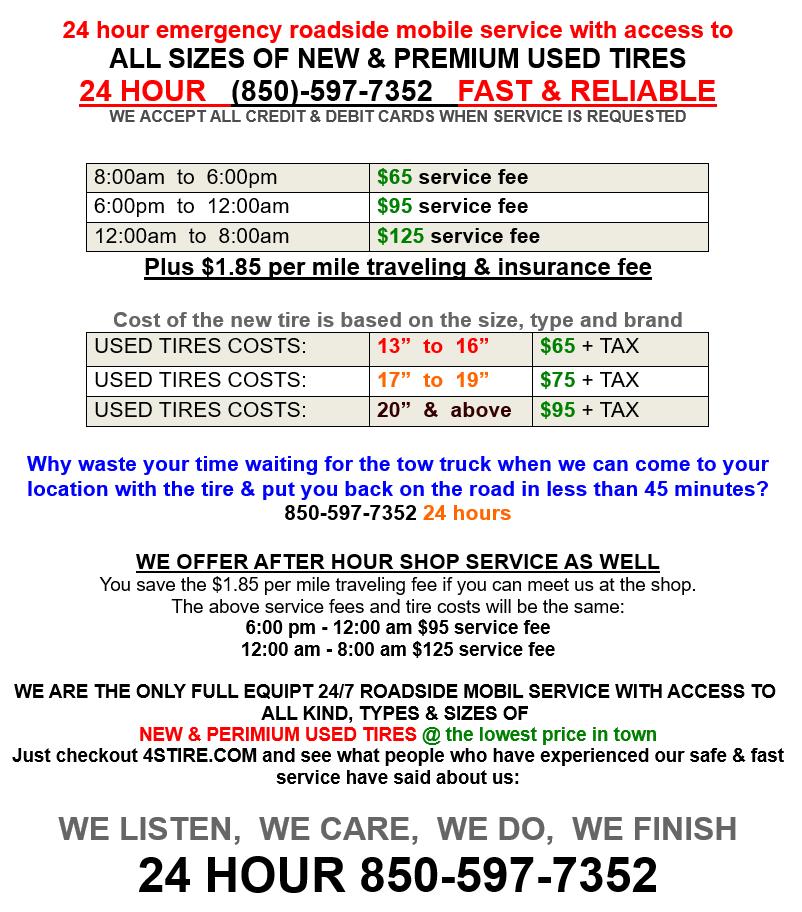 24 7 Emergency Mobile Tire Service 4stire Llc